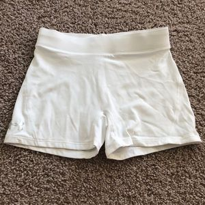 Bright white under armour spandex shorts